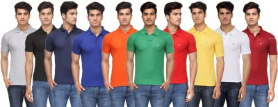 Rico Sordi Solid Men's Polo Neck Multicolor T-Shirt