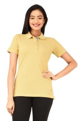 TSG Bliss Solid Women's Polo Neck Beige T-Shirt