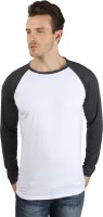 Sayitloud Solid Men's Round Neck White, Black T-Shirt