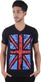 Burdy Printed Men's V-neck Black T-Shirt