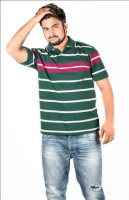UFC Mart Striped Men's Polo Neck Multicolor T-Shirt
