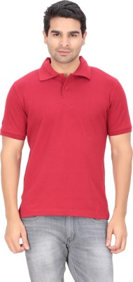 Indian Engineer Solid Men's Polo Neck Red T-Shirt