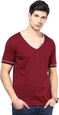 Izinc Solid Men's V-neck Maroon T-Shirt