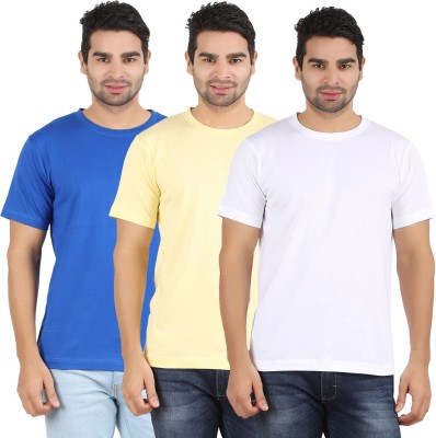 Heartin Beat Solid Men's Round Neck White, Yellow, Light Blue T-Shirt