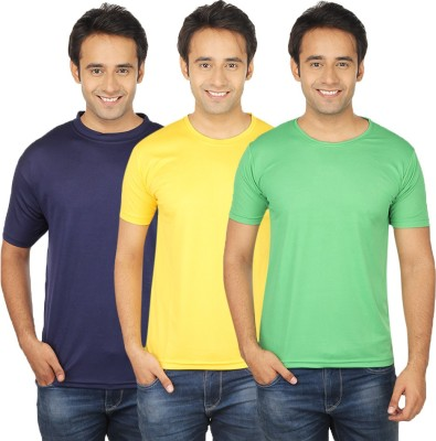Quetzal Solid Men's Round Neck Green, Yellow, Blue T-Shirt