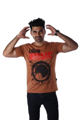 Mrtees Solid Men's Round Neck Brown T-Shirt