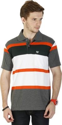 DUKE Striped Men's Polo Neck Black T-Shirt