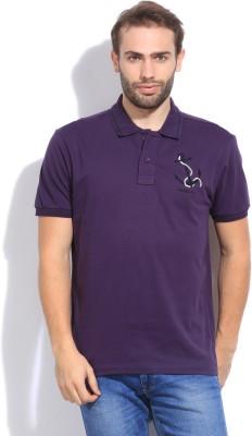 Arrow Sport Solid Men's Polo Purple T-Shirt
