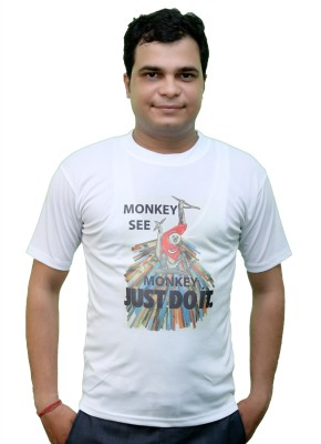 CRYSTAL Printed Men's Round Neck White T-Shirt