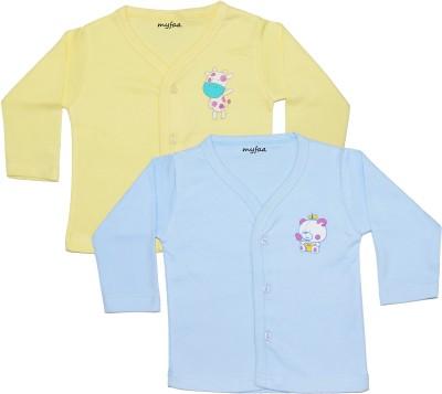 Myfaa Printed Baby Boy's Fashion Neck Yellow, Blue T-Shirt