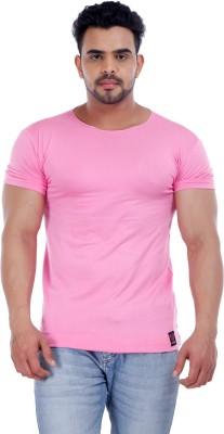 Male Basics Solid Men's Boat Neck Pink T-Shirt