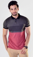 Avoir Envie Solid, Striped Men's Polo Neck Red, Grey T-Shirt