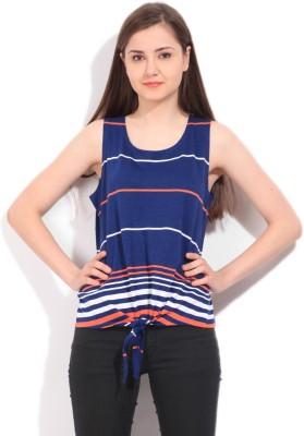 Elle Striped Women's Round Neck Blue T-Shirt