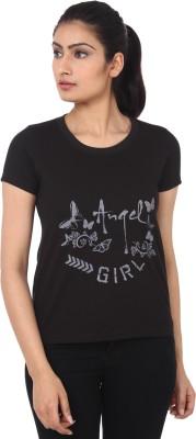 TshirtVilla Printed Women's Round Neck Black T-Shirt