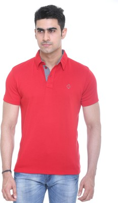 Colors and Blends Solid Men,s Polo Neck Red T-Shirt