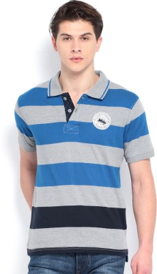 Roadster Striped Men's Polo Neck Blue T-Shirt