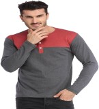 Leana Solid Men's Henley Red, Grey T-Shi...