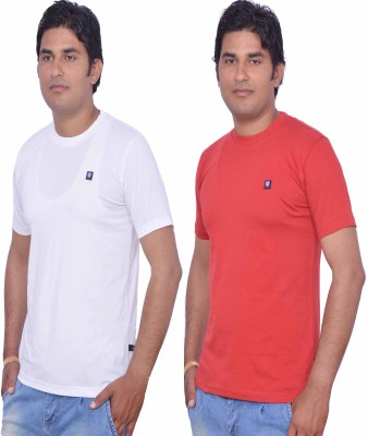 LEAF Solid Men's Round Neck White, Red T-Shirt