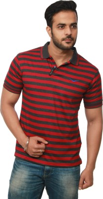 Amstead Striped Men's Polo Neck Maroon, Grey T-Shirt