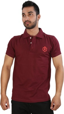 Just Differ Graphic Print Men's Flap Collar Neck Maroon T-Shirt
