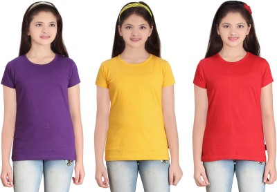 sinimini Solid Girl's Round Neck Multicolor T-Shirt