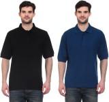 Blue-Tuff Solid Men's Polo Neck Black, D...