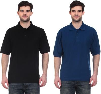 Blue-Tuff Solid Men,s Polo Neck Black, Dark Blue T-Shirt