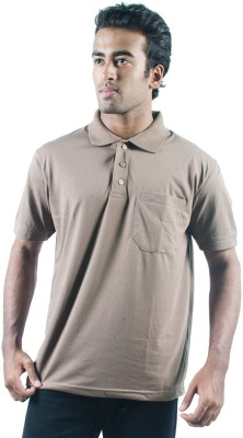 0-Degree Solid Men's Polo Neck Brown T-Shirt