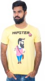 Hipsters Printed Men's Round Neck Yellow...