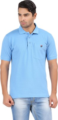 4thneed Solid Men's Polo Light Blue T-Shirt
