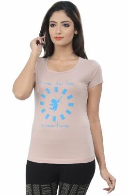 TSG Breeze Printed Women's Round Neck Beige T-Shirt