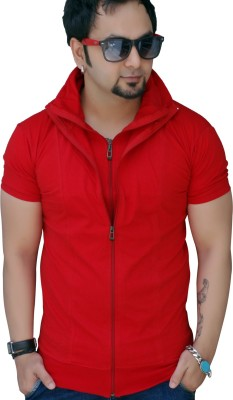 Black Collection Solid Men's Flap Collar Neck Red T-Shirt