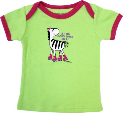 Luvable Friends Graphic Print Baby Girl's Round Neck Green T-Shirt