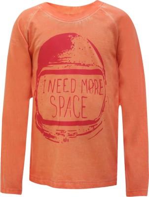 UFO Printed Boy's Round Neck Orange T-Shirt