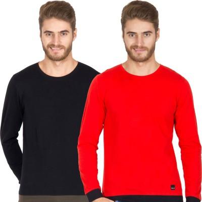 Rigo Solid Men's Round Neck Black, Red T-Shirt