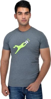 Surly Printed Men's Round Neck Grey, Green T-Shirt