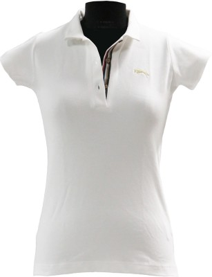 JUMP USA Solid Women's Polo White T-Shirt