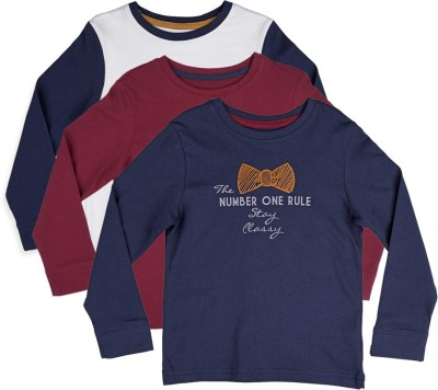 Mothercare Printed Boy's Round Neck White, Blue, Maroon T-Shirt