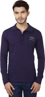 Bajo Solid Men's Fashion Neck Purple T-Shirt