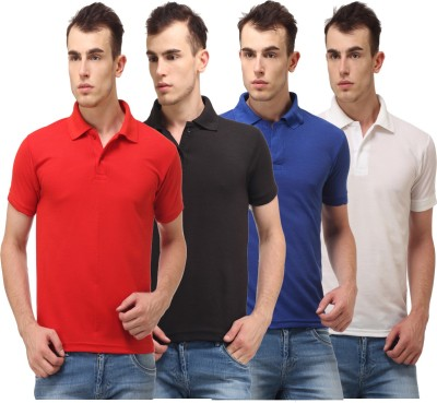 Lime Solid Men's Polo Neck Red, Black, White, Blue T-Shirt