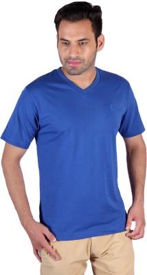 Humbert Solid Men's V-neck Blue T-Shirt