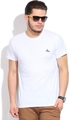 Deer Park Solid Men's Round Neck White T-Shirt