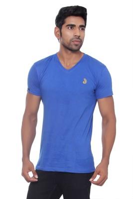 Pezzava Self Design Men's V-neck Reversible Yellow, Blue T-Shirt