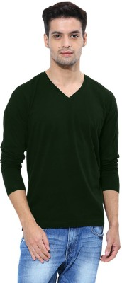 Softwear Solid Men's V-neck Dark Green T-Shirt