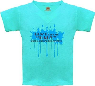 Tuscans Graphic Print Baby Boy's V-neck Light Blue T-Shirt