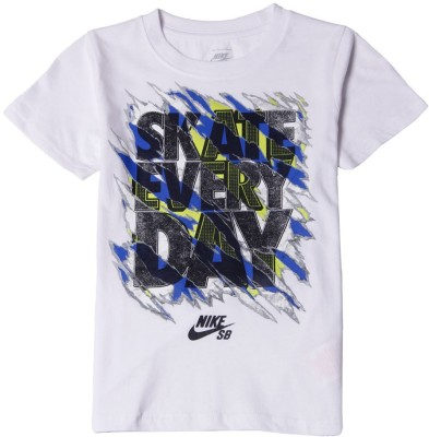 Nike SB Graphic Print Boy,s Round Neck White T-Shirt