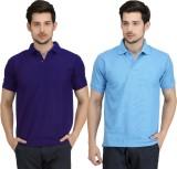 Krazy Katz Solid Men's Polo Neck Blue, L...