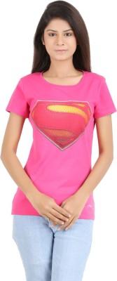 MA Printed Women's Round Neck Pink T-Shirt