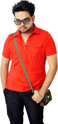 Parv Collections Solid Men's Flap Collar Neck Red T-Shirt