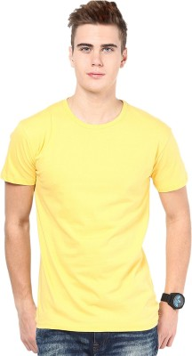 Funky Guys Solid Men's Round Neck Yellow T-Shirt